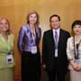Connie Hedegaard, European Commissioner for Climate Action (Left 2) is accompanied by Maria Castillo, Head of Office of the European Union to Hong Kong and Macau (Left 1), Anthony Cheung, Hong Kong Consumer Council Chairman (Right 2) Connie Lau, Chief Executive of Hong Kong Consumer Council at the Consumers International World Congress