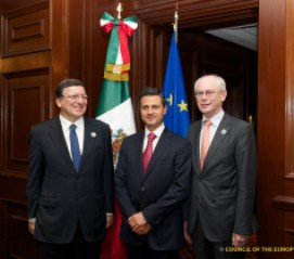 Meeting between the President of Mexico Enrique Peña Nieto and the President of the European Council Herman Van Rompuy together with the President of the European Commission,José Manuel Barr