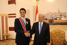 "The President of Yemen awarded the ""Unity medal"" to EU Ambassador Michele Cervone d'Urso"