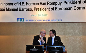 FKI hosted a luncheon in honor of the EU presidents with 100 Korean business industry attending