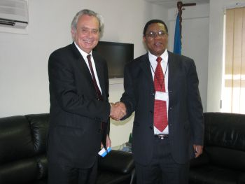 EU Head of Delegation Gilles Hervio with COMESA Secretary General Sindiso Ngwenya