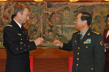 Chairman of the EU Military Committee General Patrick de Rousiers visits China to hold 1st EU-China Dialogue on Defence and Security in Beijing, October 2014