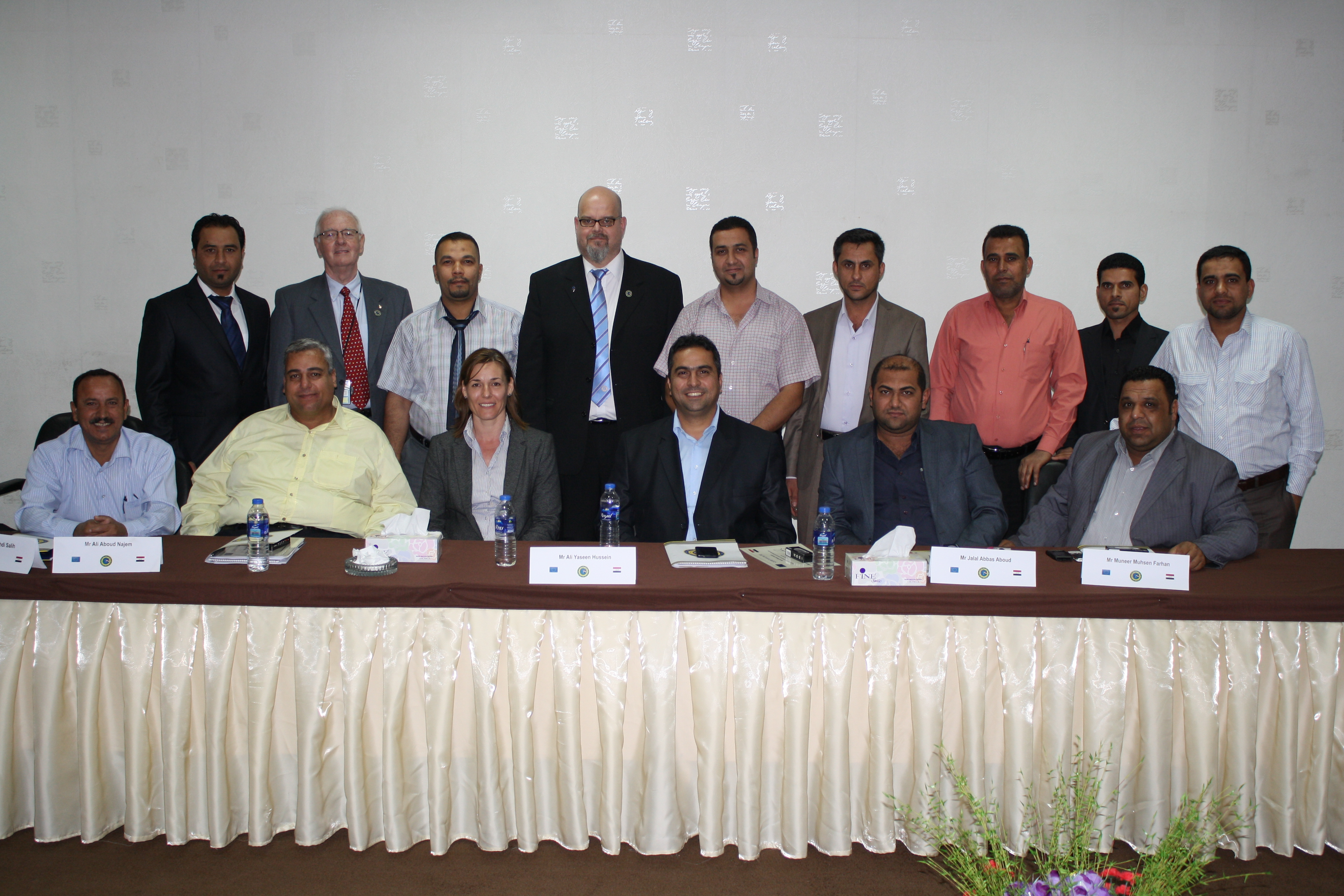Falah Mahdi Salih (seated on left) and Ali Aboud Najem (next, in yellow shirt) with course participants and EJL Experts Alison Stables (next) and, at rear, William Irvine (2nd from left) and Matti Virkunnen (4th from left)