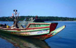 Traditional fishing boat on lake