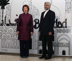 Iran nuclear talks: Catherine Ashton who led the talks for the International community, with her Iranian counterpart Saeed Jalili, Baghdad 23 May 2012