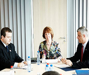 Catherine Ashton chaired a series of talks with Serb Prime Minister Ivica Dačić and Kosovo Prime Minister Hashim Thaçi that eventually led to a landmark agreement on 19 April 2013