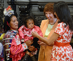 Catherine Ashton joined First Lady Nadine Heredia at an event in Lima and praised Peru's work to reduce inequality and tackle child malnutrition