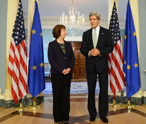 U.S. Secretary of State John Kerry meets with EU High Representative Catherine Ashton at the U.S. Department of State in Washington, D.C., February 14, 2013