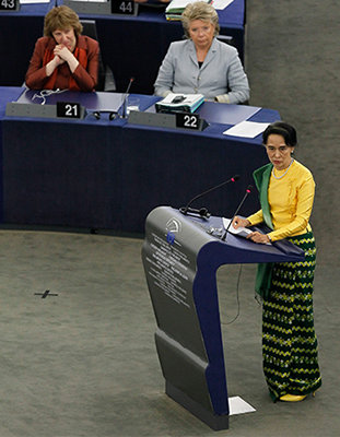 Address of the 1990 Sakharov Prize winner, Aung San Suu Kyi, to the European Parliament in Strasbourg