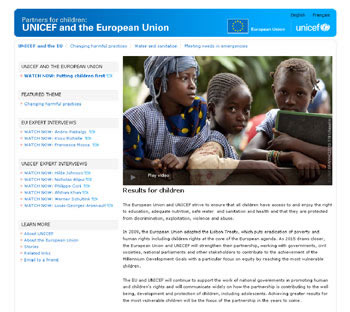 screenshot EU-UNICEF website http://www.unicef.org/ec/ - photo©UNICEF/NYHQ2010-1191/Asselin