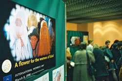 Poster with caption 'A flower for the women of Kabul' © EU