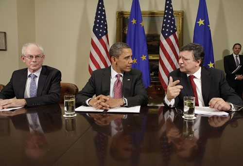 from left to right: Herman Van Rompuy, Barack Obama and José Manuel Barroso