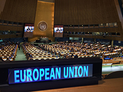 The EU participates in the work of the UN General Assembly - EU nameplate in the UN General Assembly hall