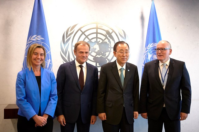 EU leaders with UN Secretary General Ban Ki-moon