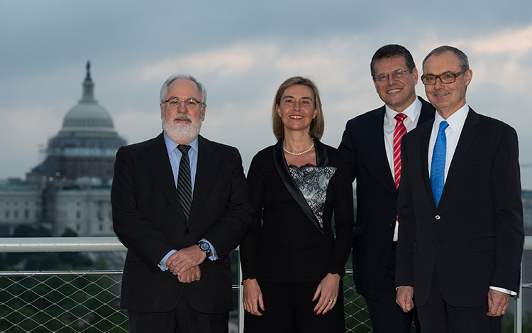EU team ahead of the EU-US Energy Council: Miguel Arias Cañete, Federica Mogherini, Maroš Šefčov