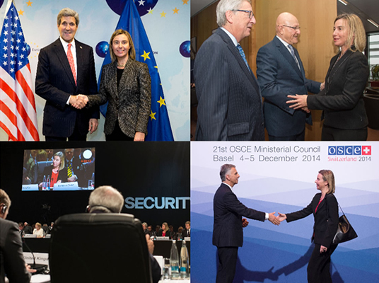 Clockwise from top left : HR/VP Mogherini with US State Secretary John Kerry; with Lebanon's Prime Minister Tammam Salam; at OSCE Ministerial Council