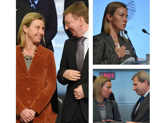 HR/VP Federica Mogherini with Edgars Rinkēvičs, Minister of Foreign Affairs of Latvia and Johannes Hahn, Member of the European Commission