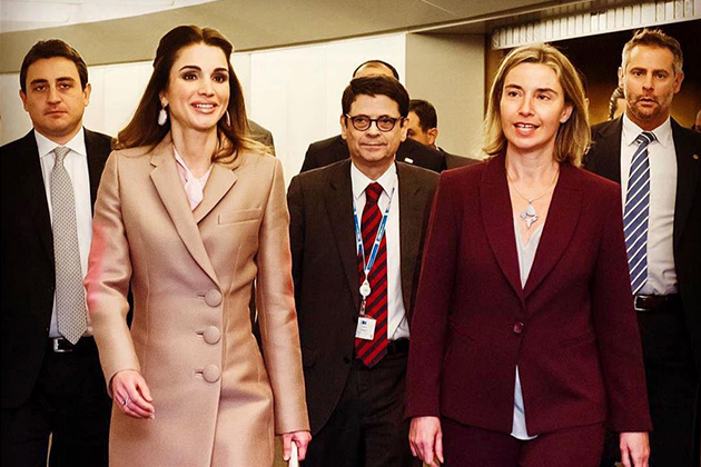Federica Mogherini with Her Majesty the Queen Rania of Jordan