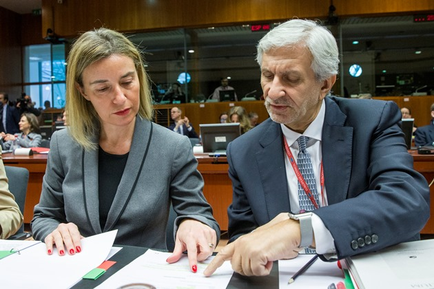 Photo caption: Federica Mogherini with Leonardo Schiavo – Director General Foreign Affairs, Enlarg