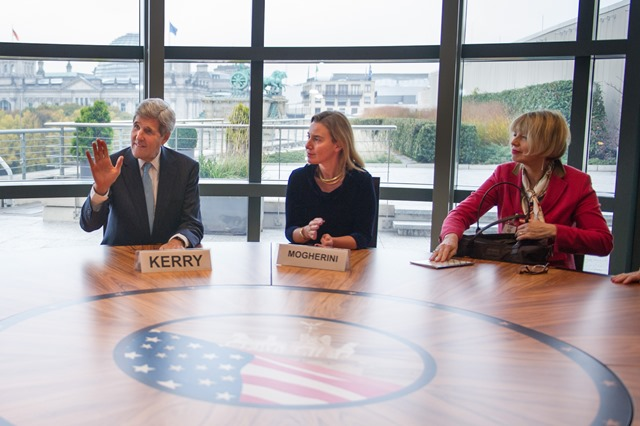 US Secretary of State John Kerry, HR/VP Federica Mogherini and DSG Helga Schmid