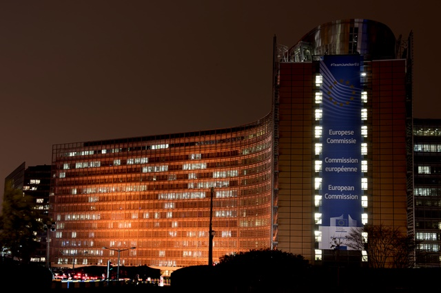 Berlaymont building illuminated in orange for the UN's 'Orange Your World' Campaign