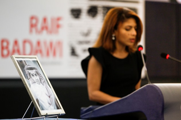Raif Badawi's wife accepts Sakharov prize in ceremony in Strasbourg