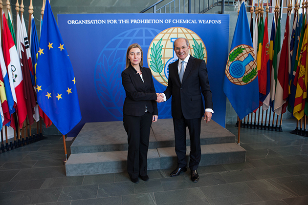 Federica Mogherini with Ahmet Üzümcü, Director-General of the OPCW
