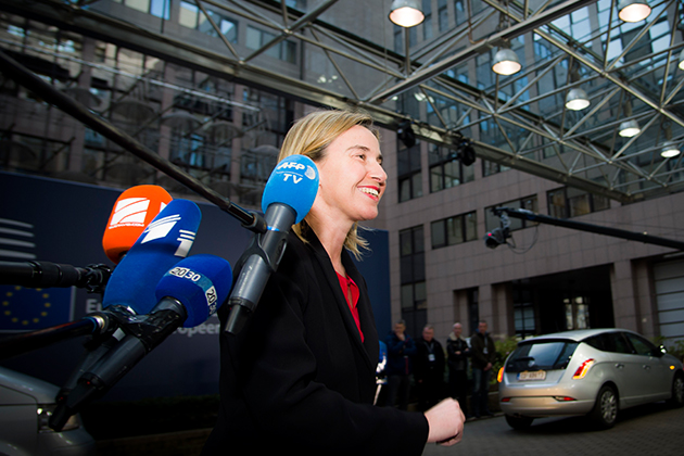 """The Libyan Political Agreement has been signed, that is good news"" Federica Mogherini speaks to pre"