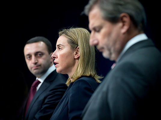 EU-Georgia Association Council - HRVP Federica MOGHERINI with Mr Irakli GARIBASHVILI, Prime Minister of Georgia and Mr Johannes HAHN, Member of the European Commission