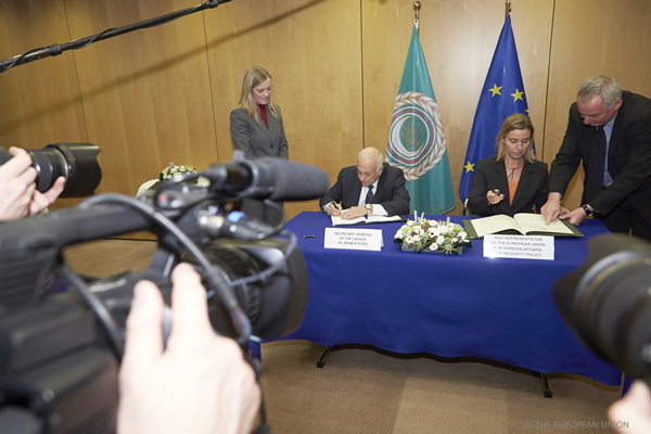 Federica Mogherini with Nabil El Araby, Secretary-General of the Arab League - Signature of a Memorandum of Understanding between the EEAS and the League of Arab States