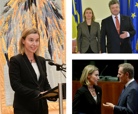 Mogherini at Eurochanukah, with Ukrainian President Poroshenko and President of the European Council Tusk