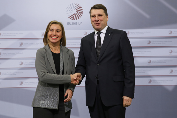 HRVP Federica Mogherini and Latvian Minister of Defence, Raimods Vējonis