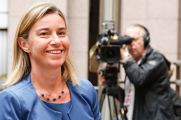 Federica Mogherini addressing the press upon arrival at the Foreign Affairs Council