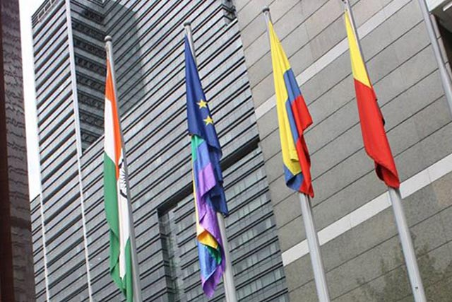 The rainbow flag flew at the EU Delegation in Bogota on the International Day Against Homophobia