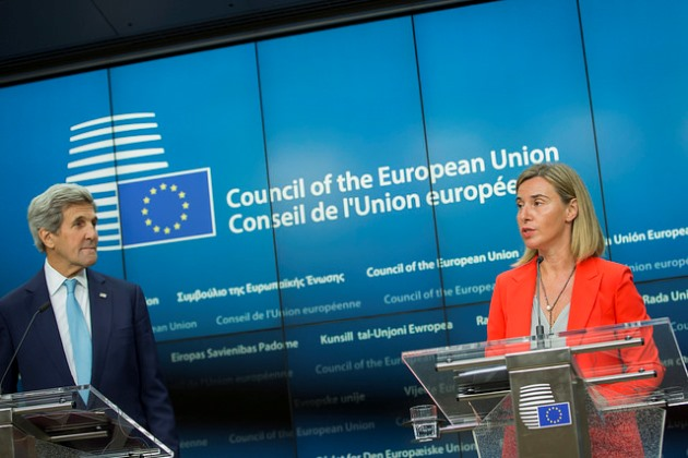 Kerry joins Mogherini and EU ministers in Brussels