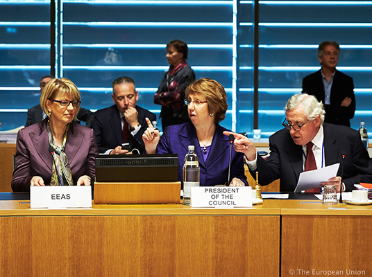 HRVP Catherine ASHTON with Helga Maria SCHMID, Deputy Secretary General for Political Affairs and Pierre VIMONT, Executive Secretary General