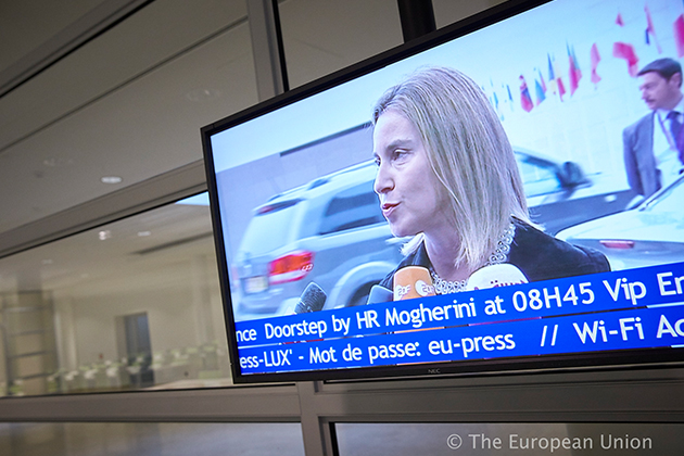 Arrival of HRVP Federica Mogherini at the Foreign Affairs Council in Luxembourg