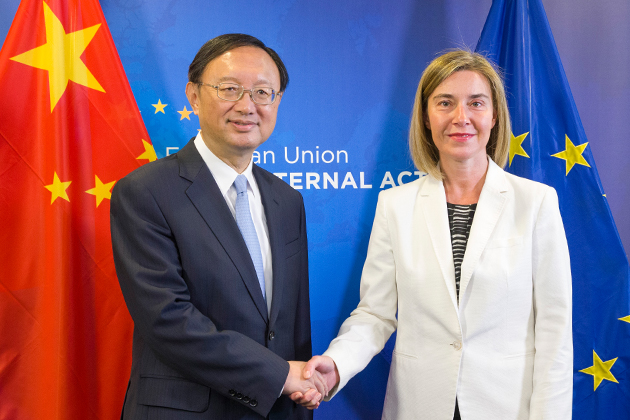 Federica Mogherini with Jiechi Yang, State Councillor of the People's Republic of China