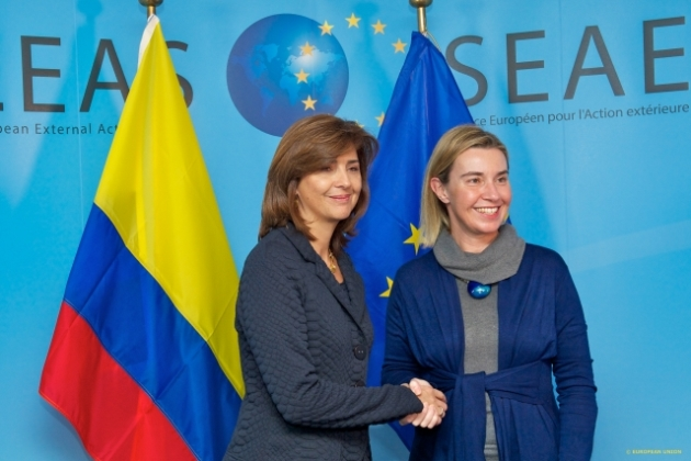 HRVP in one of her meetings earlier today with Colombian FM María Ángela Holguín