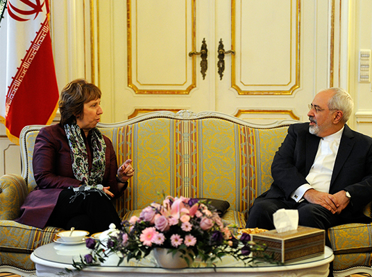 E3+3 Chief Negotiator Catherine Ashton and Iranian Foreign Minister Mohamad Javad Zarif in Vienna