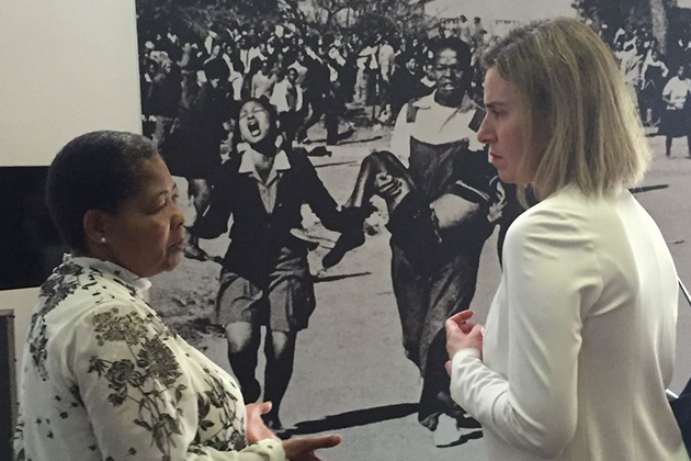 Federica Mogherini Antoinette Sithole at the Hector Pieterson Museum