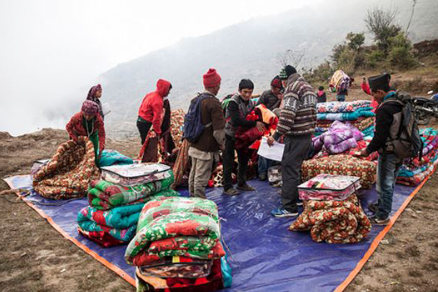 Keeping earthquake victims warm in Nepal