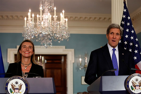 Federica Mogherini with John Kerry